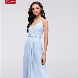 David's bridal double strap long georgette dress